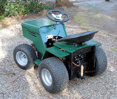 Rear view on DIY yard tractor - unpainted