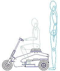 Scooter with standing adult